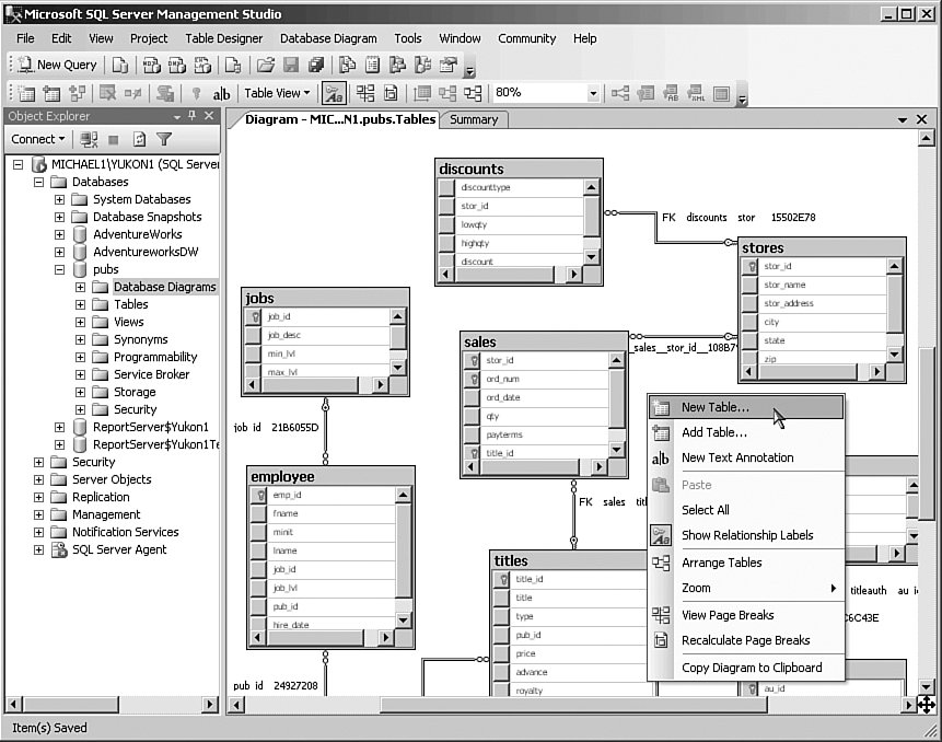 Implement the DB visualizer into the service window for